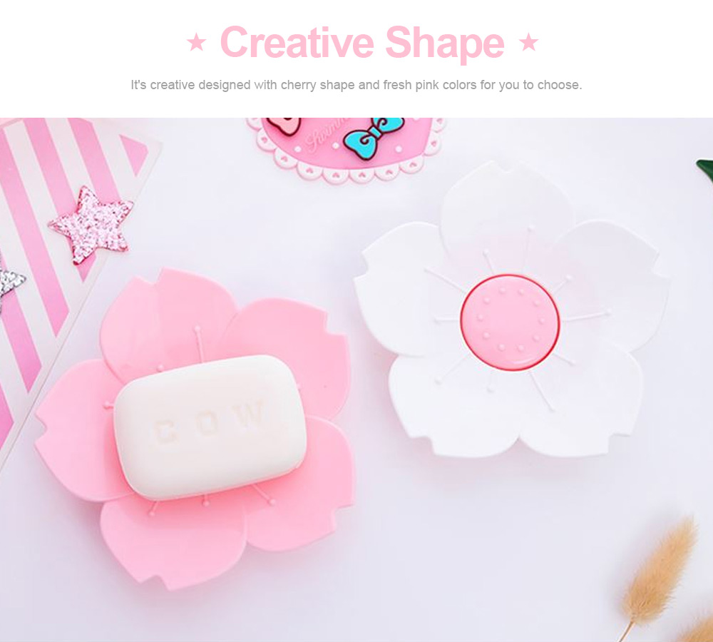Pink Soap Box Cute Cherry Shape Plastic Shower Soap Holder with Drain Container for Home Kitchen Bathroom Soap Storage Box 1