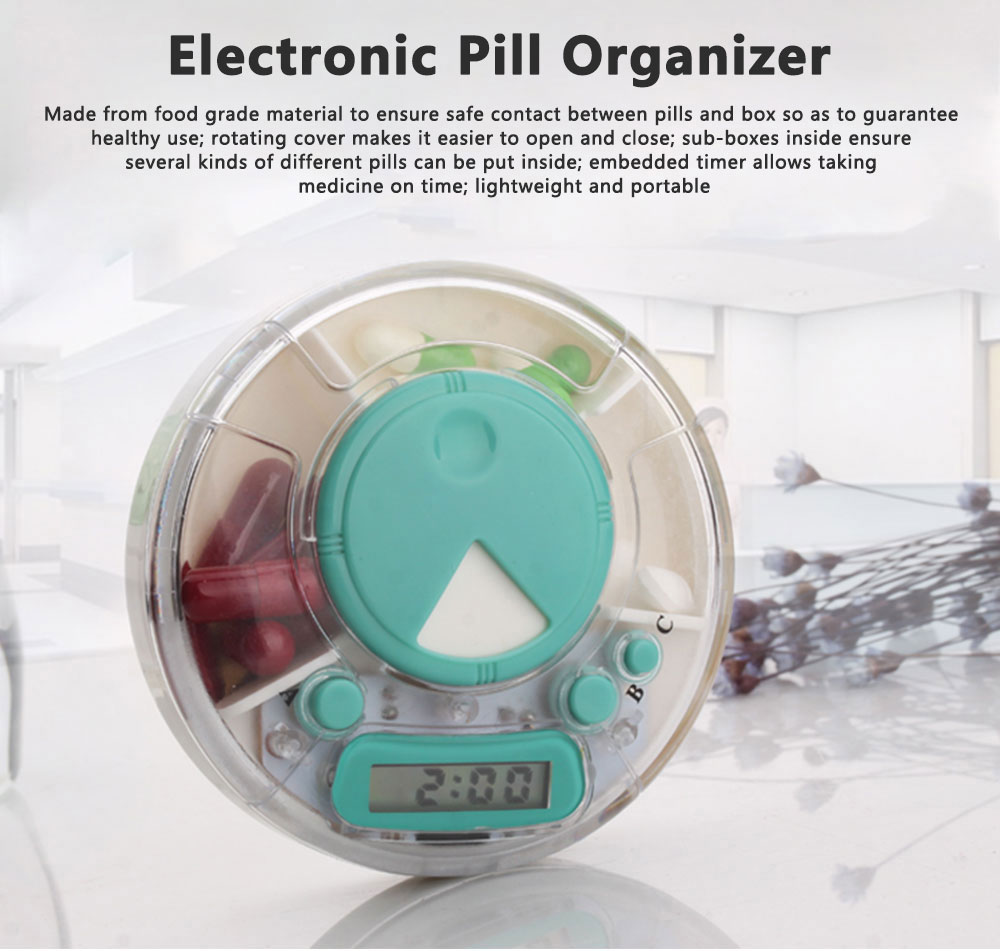 7-Day Electric Pill Box Medicine Organizer Container with Timer Alarm Clock Reminder for Patients 0