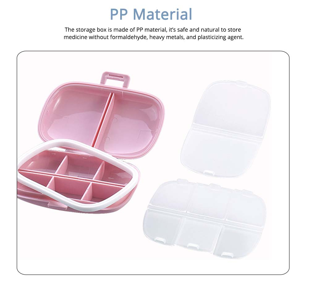 Mini Pill Storage Box with Eight Compartments, Double Space PP Container Portable Weekly Medicine Case 3