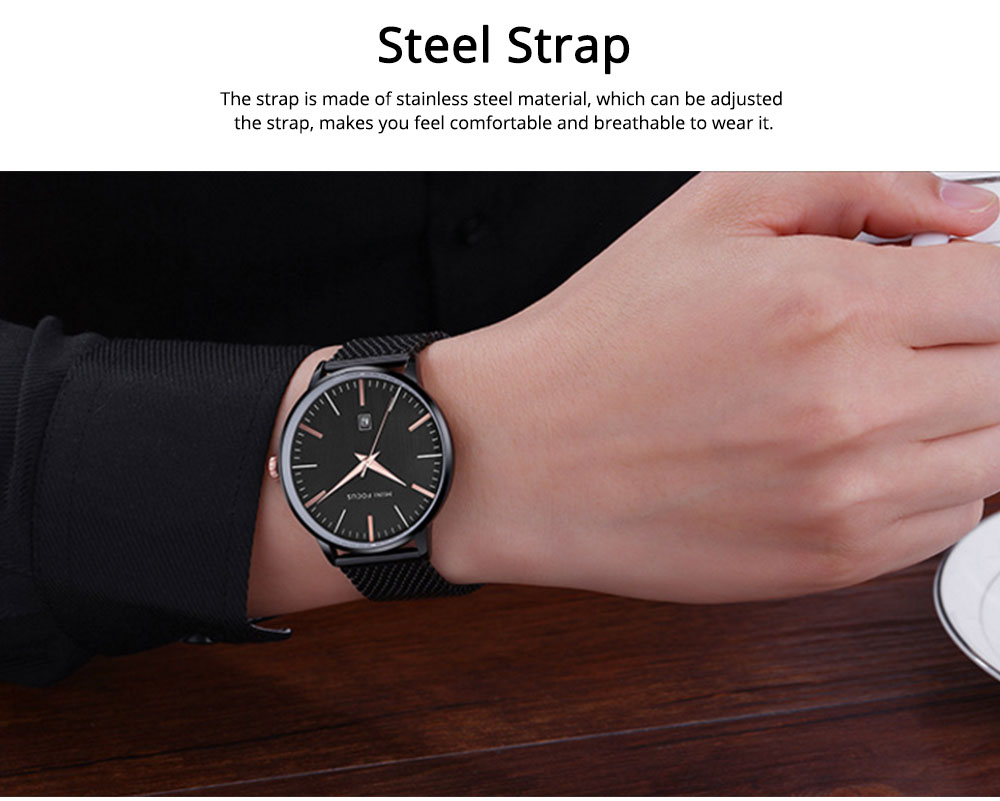 Steel Strap Quartz Watch for Men, Water-proof Round Alloy Dial Watch Wear-proof Classic Watch 5