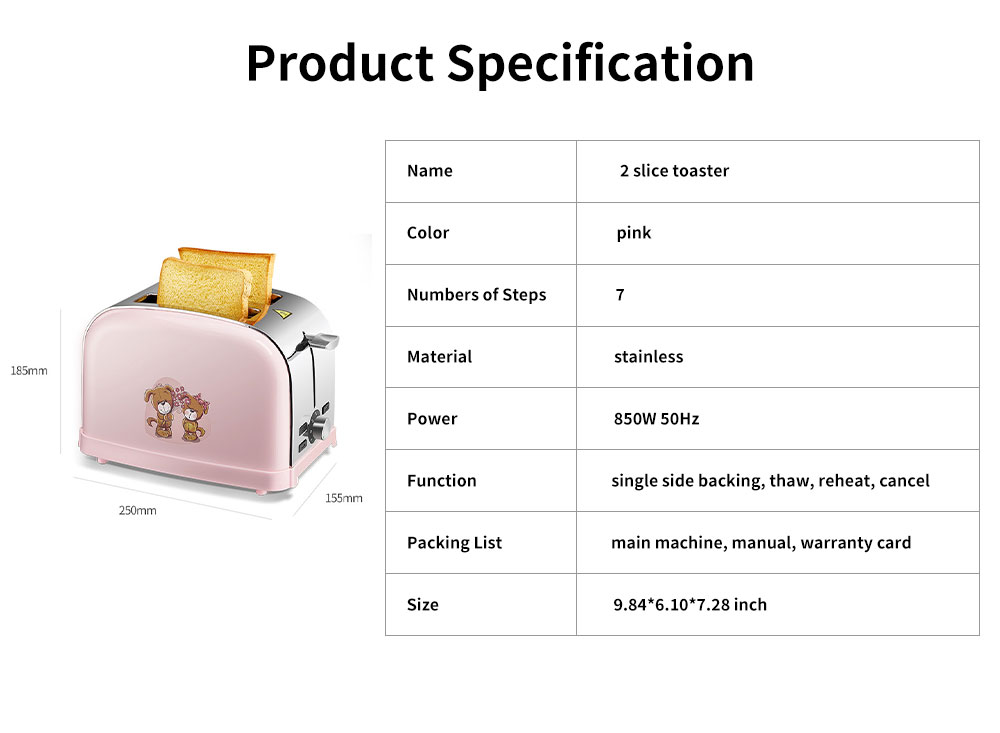 Cute Pink 2 Slice Stainless Steel Toaster, Multiple Functions Automatic Adjustable Browning Control Breakfast Bread Heater 6
