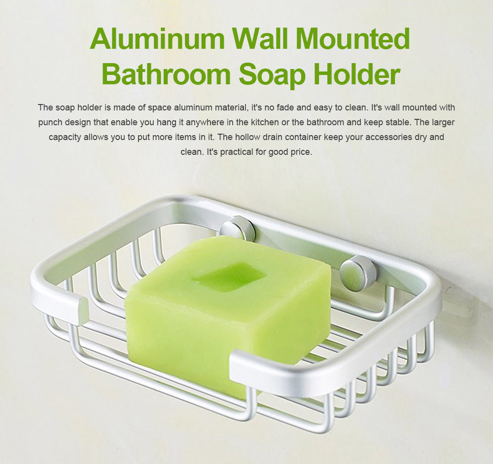 Aluminum Wall Mounted Bathroom Shower Soap Holder Dish Square Basket, Kitchen Bathroom Essential Large Capacity Soap Holder 0