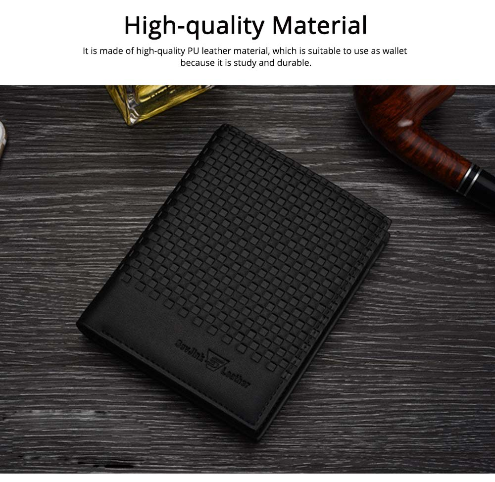 Concise Style Wallet for Business Travelling with PU Leather Material, Unique Decorative Pattern Men's Wallet 5