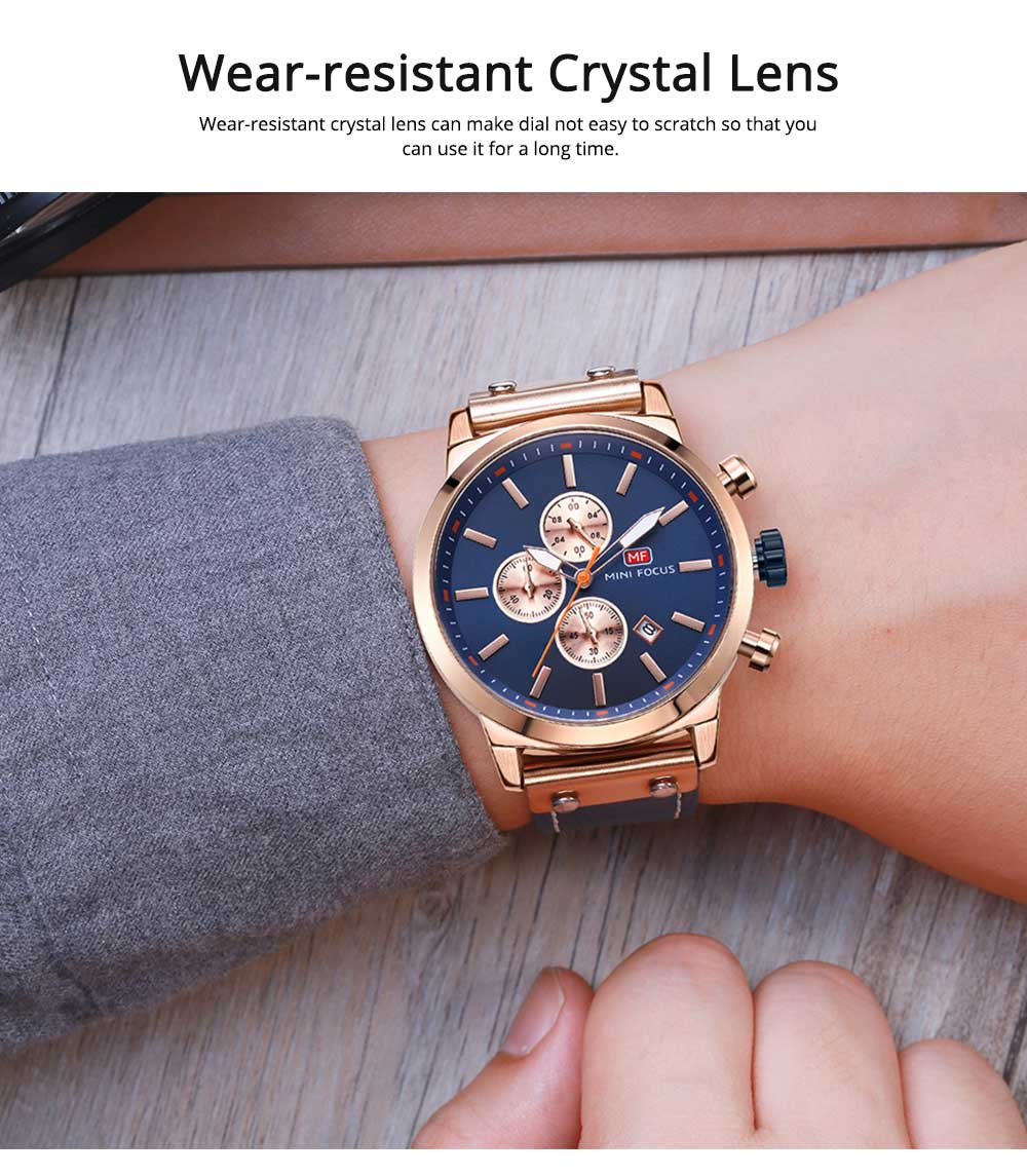 Men's Leather Strap Business Watch with Durable Solid Movement Luxury Wrist Watch 3