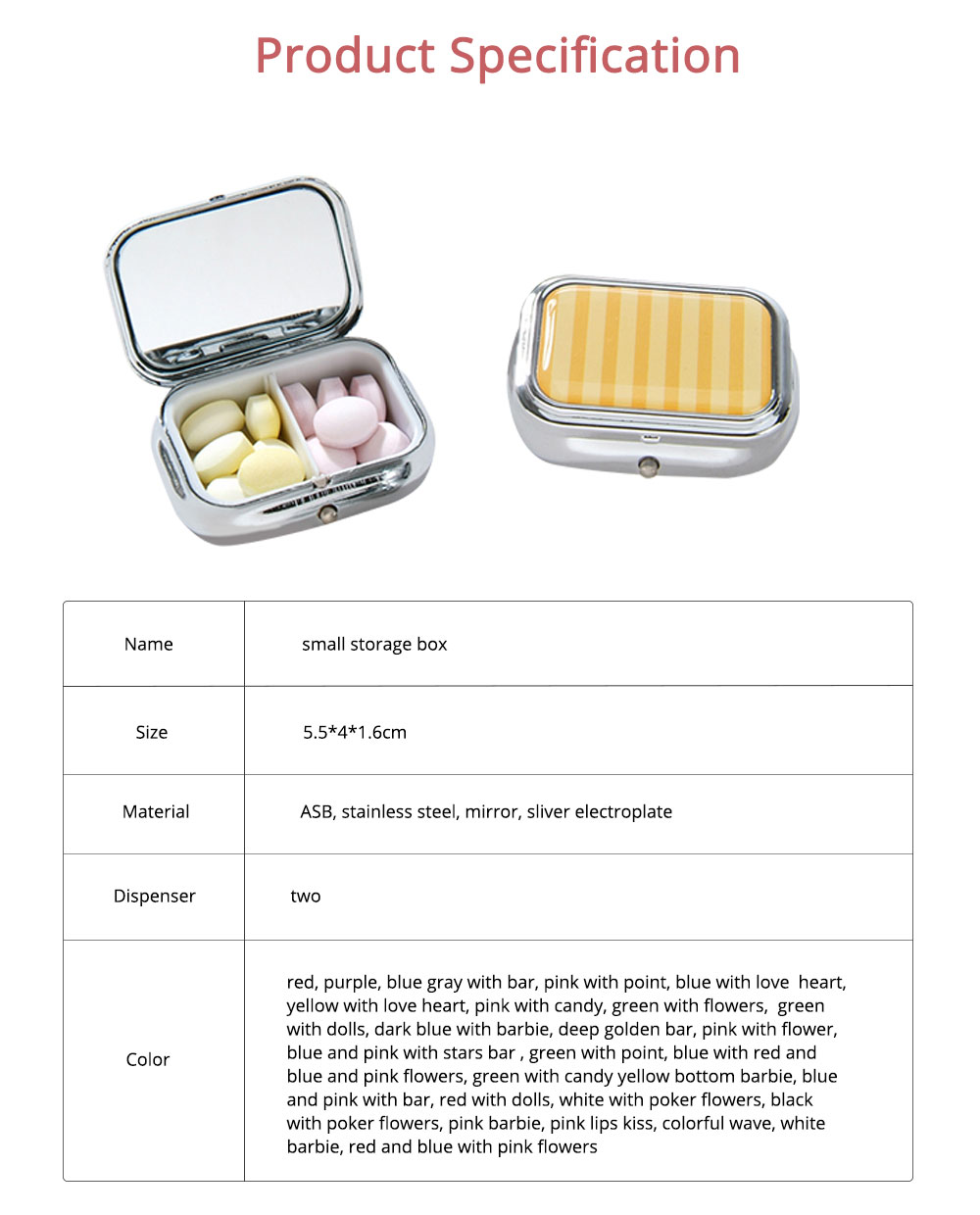 ASB Stainless Steel Pill Box with Two Cells Mirror Small Container for Medicine False Eyelashes Dispenser Portable Case 6