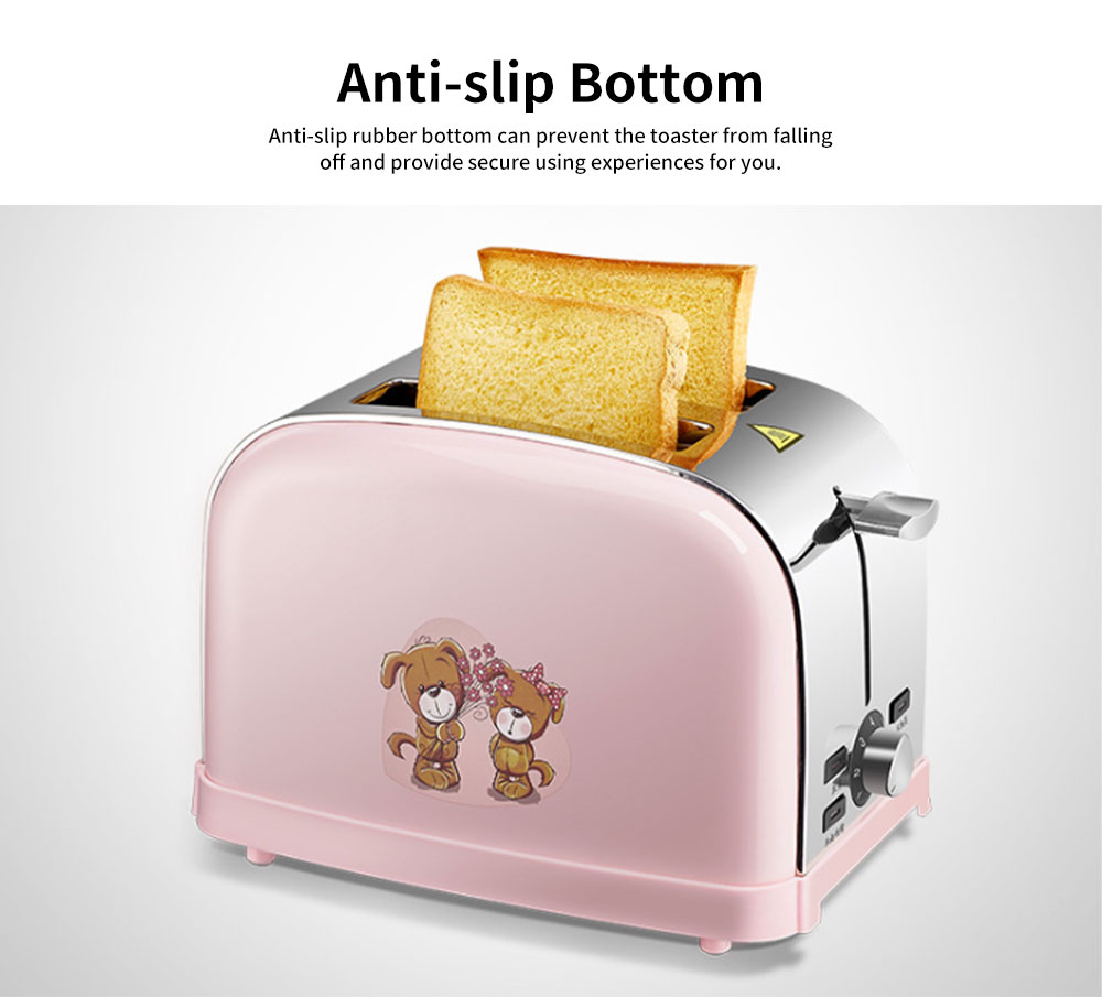 Cute Pink 2 Slice Stainless Steel Toaster, Multiple Functions Automatic Adjustable Browning Control Breakfast Bread Heater 4