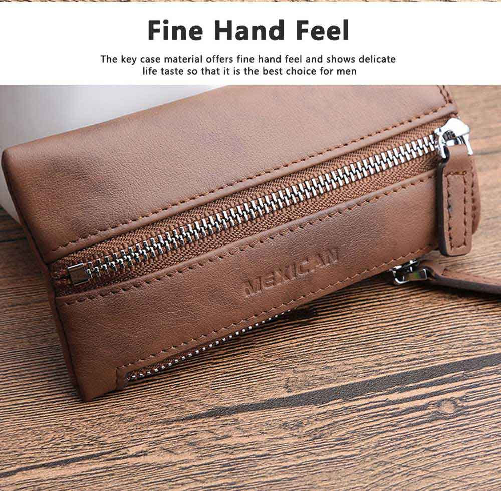 Leather Key Case for Men, Waist Hanged Zipper Key Case for Women, Multipurpose Key Case Wallet Mini Coin Purse 3