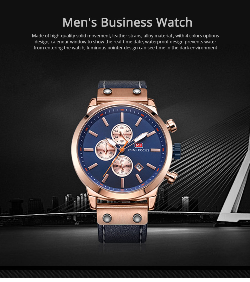Men's Leather Strap Business Watch with Durable Solid Movement Luxury Wrist Watch 0