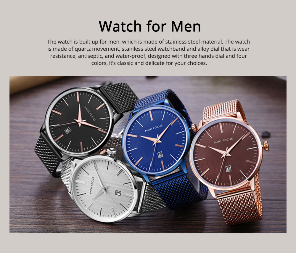 Steel Strap Quartz Watch for Men, Water-proof Round Alloy Dial Watch Wear-proof Classic Watch 0
