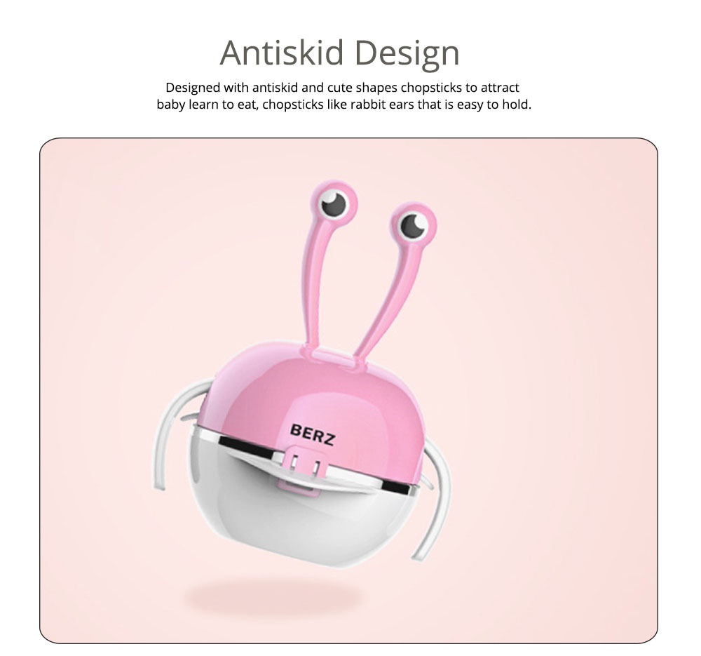 Stainless Steel PP Bowl Suit for Baby, Cute Carton Shape Double-layer Drop-resistance Baby Tableware Set 3