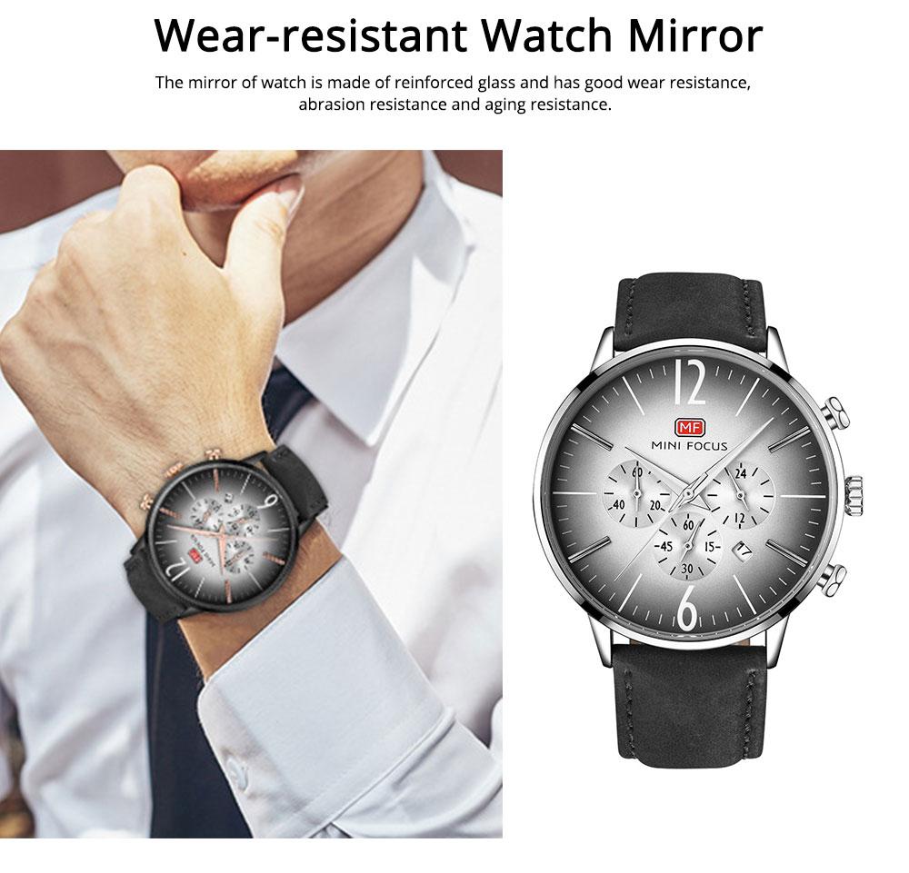 Fashionable Leather Strap Watch for Men Water-proof Round Dial Watch Minimalist Quartz Wrist Watch 4
