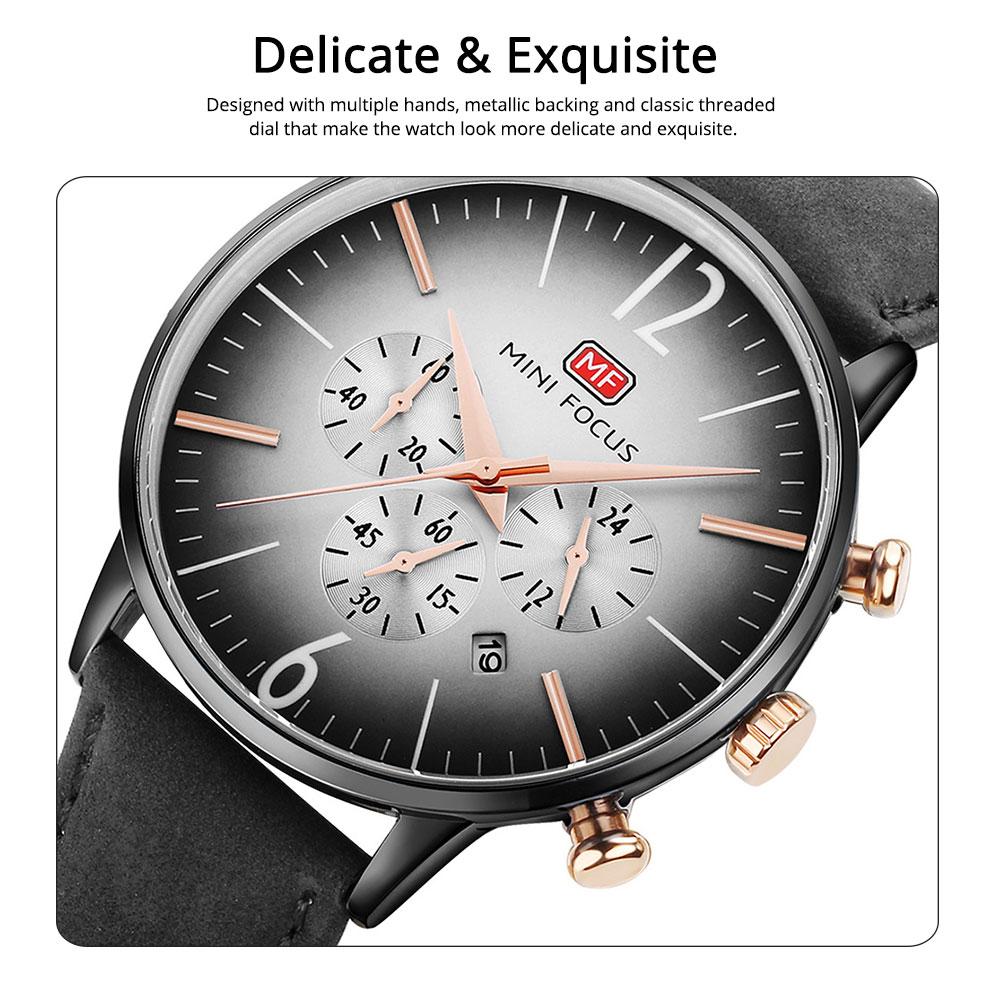 Fashionable Leather Strap Watch for Men Water-proof Round Dial Watch Minimalist Quartz Wrist Watch 3