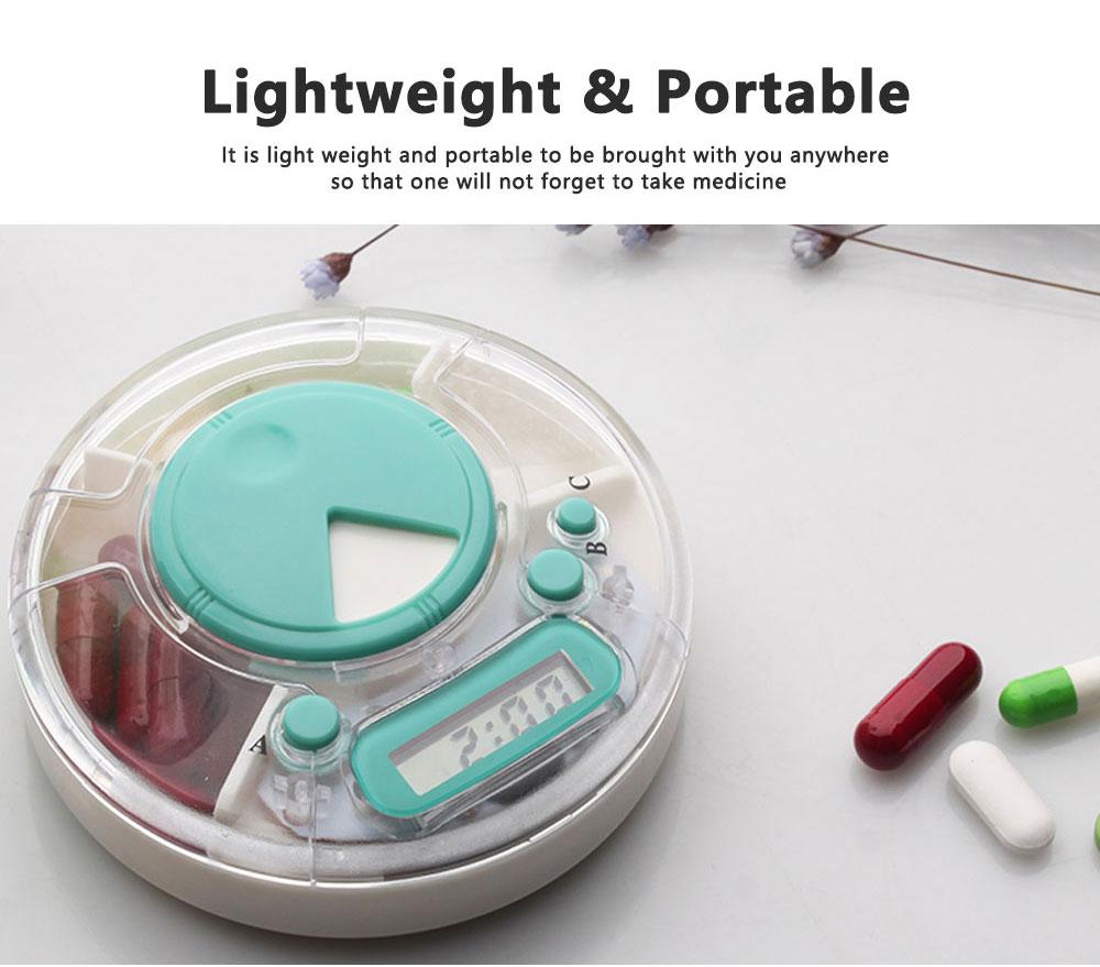 7-Day Electric Pill Box Medicine Organizer Container with Timer Alarm Clock Reminder for Patients 6