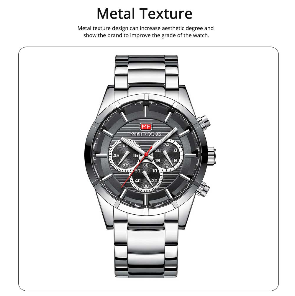 Luminous Waterproof Watch for Party Daily Life, Alloy Watchcase and Stainless Steel Watch Band Men's Wrist Watch 3
