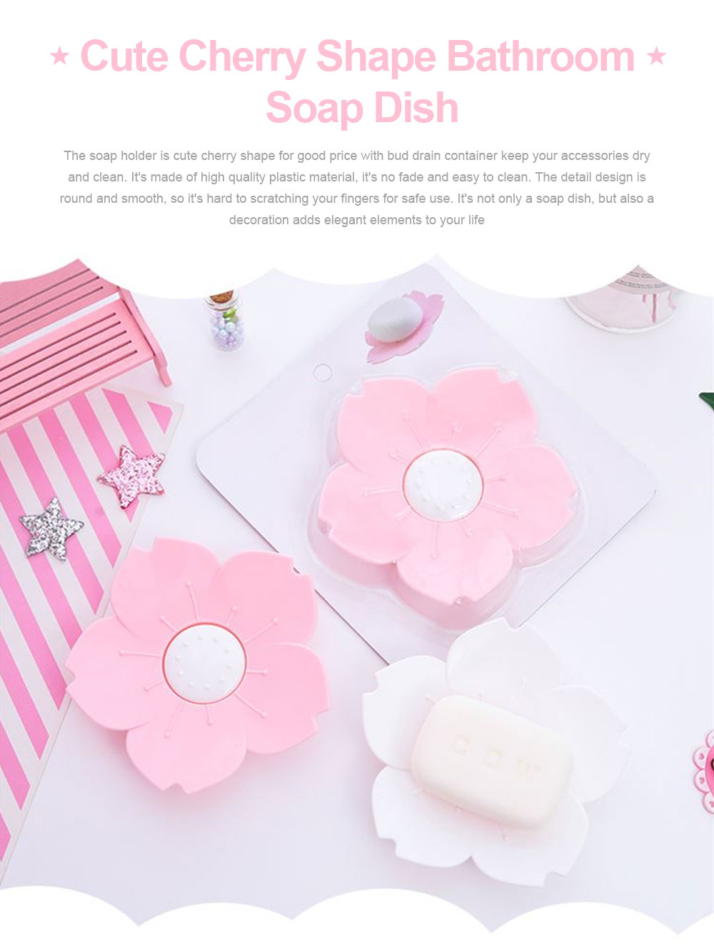 Pink Soap Box Cute Cherry Shape Plastic Shower Soap Holder with Drain Container for Home Kitchen Bathroom Soap Storage Box 0