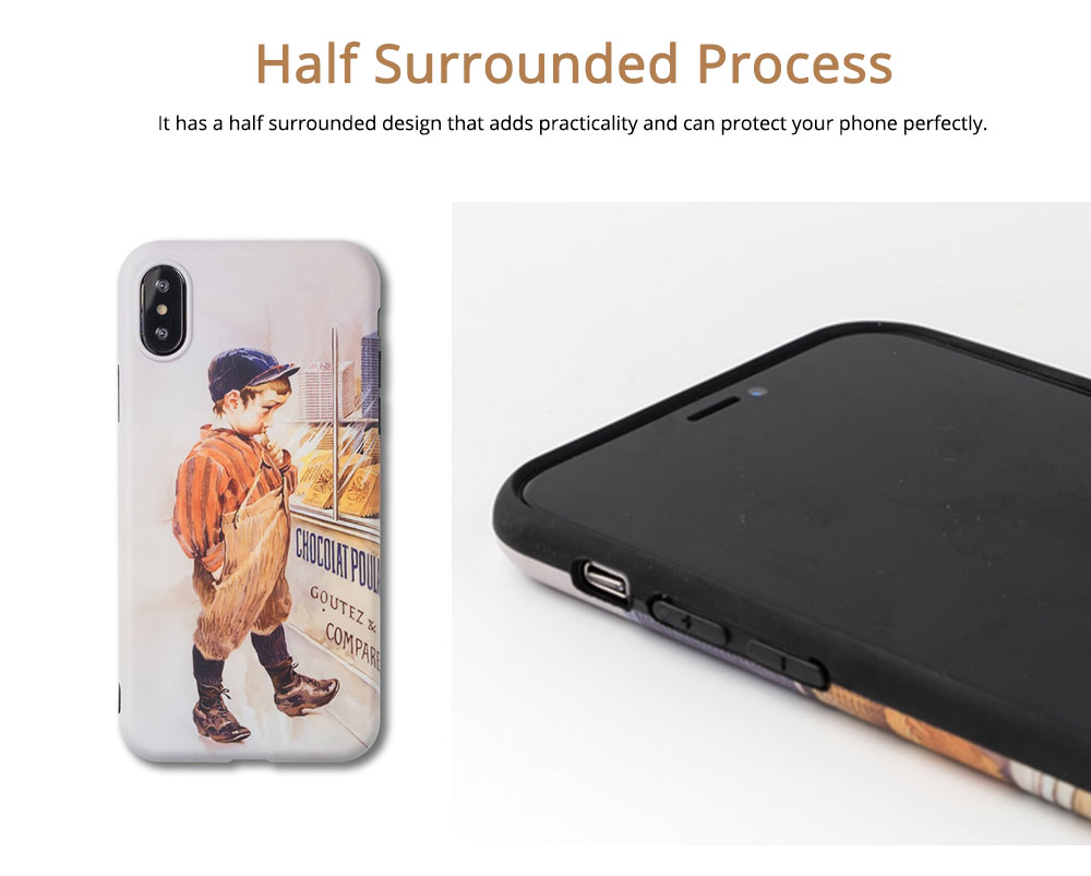 Vintage Oil Painting Mobile Phone Cover, Greedy Little Boy Printing  Phone Case for 6s, 6sp, 7p/8p, XS, XR 2