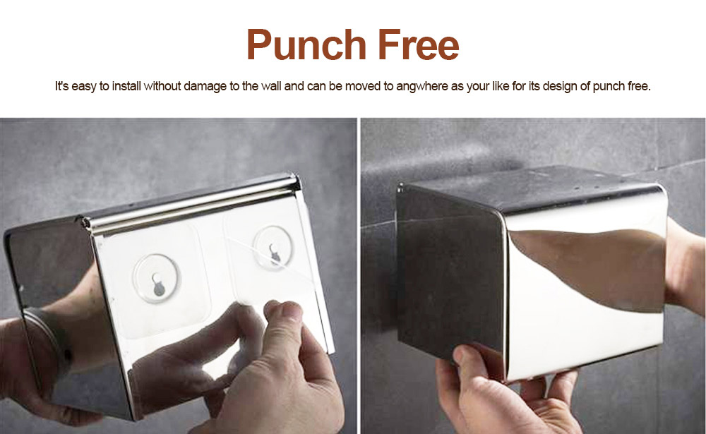 Punch free Stainless Steel Toilet Paper Holder, Wall Mounted Nail Free Waterproof Paper Storage Box for Bathroom 3