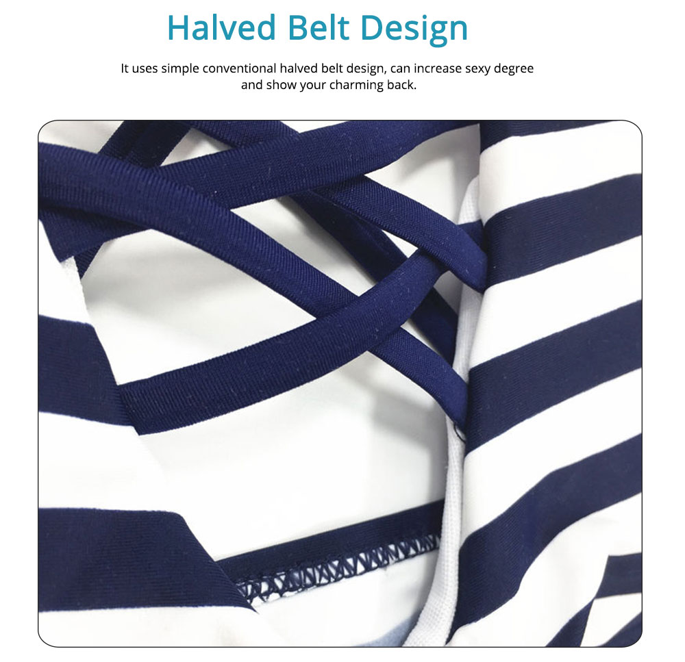 Naval Stripe Separate Sexy Lady's Swimsuit, Western Style Bikini with Polyester and Spandex Fabric 4