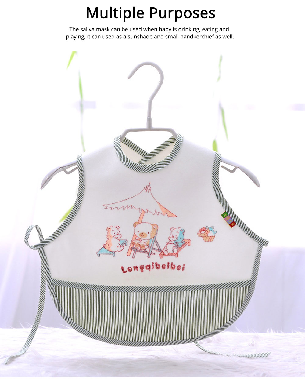 Velvet Material Bib for Baby Double-sided Mask with Bottom Pocket Buckle Saliva Cover Waterproof Baby Saliva Towel 5