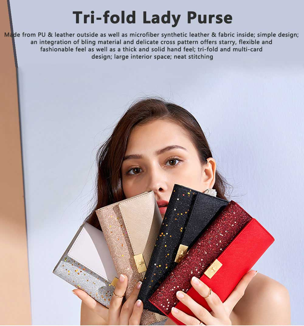 Tri-fold Multi-card Lady Purse in 2019 Fashionable Women Clutch on Clearance Multifunctional Simple Design Leather Purse 0