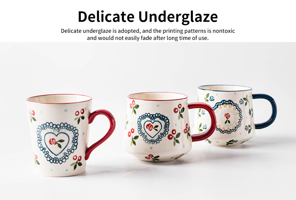 Cute Delicate Elegant Ceramics Mug with Cherry Pattern, Large Capacity Underglaze Household Water Cup 2