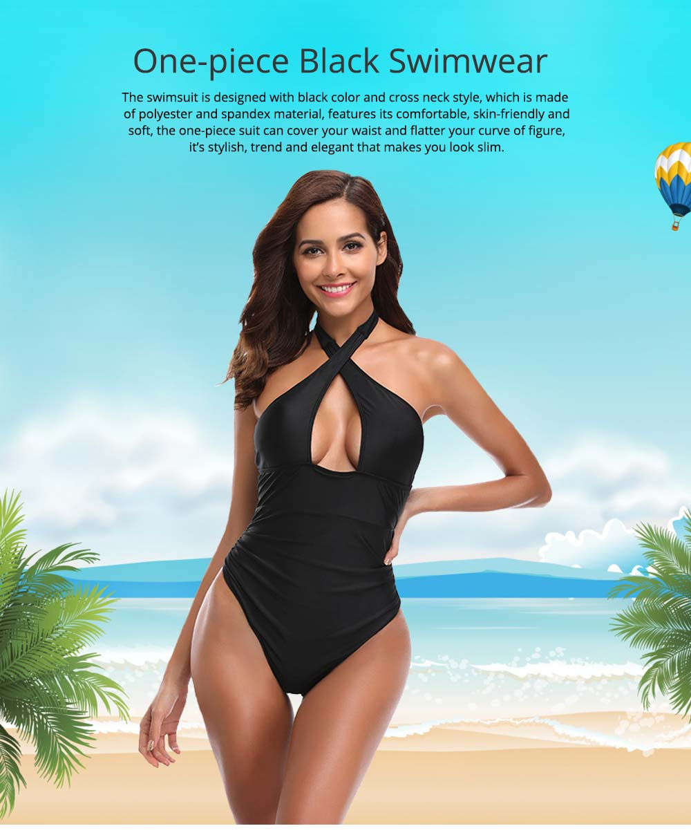 Polyester Spandex Swimsuit Cross Neck Black Bikini Cover Stomach Design for Women Sexy Bathing Suit One-piece Swimwear for Summer 0