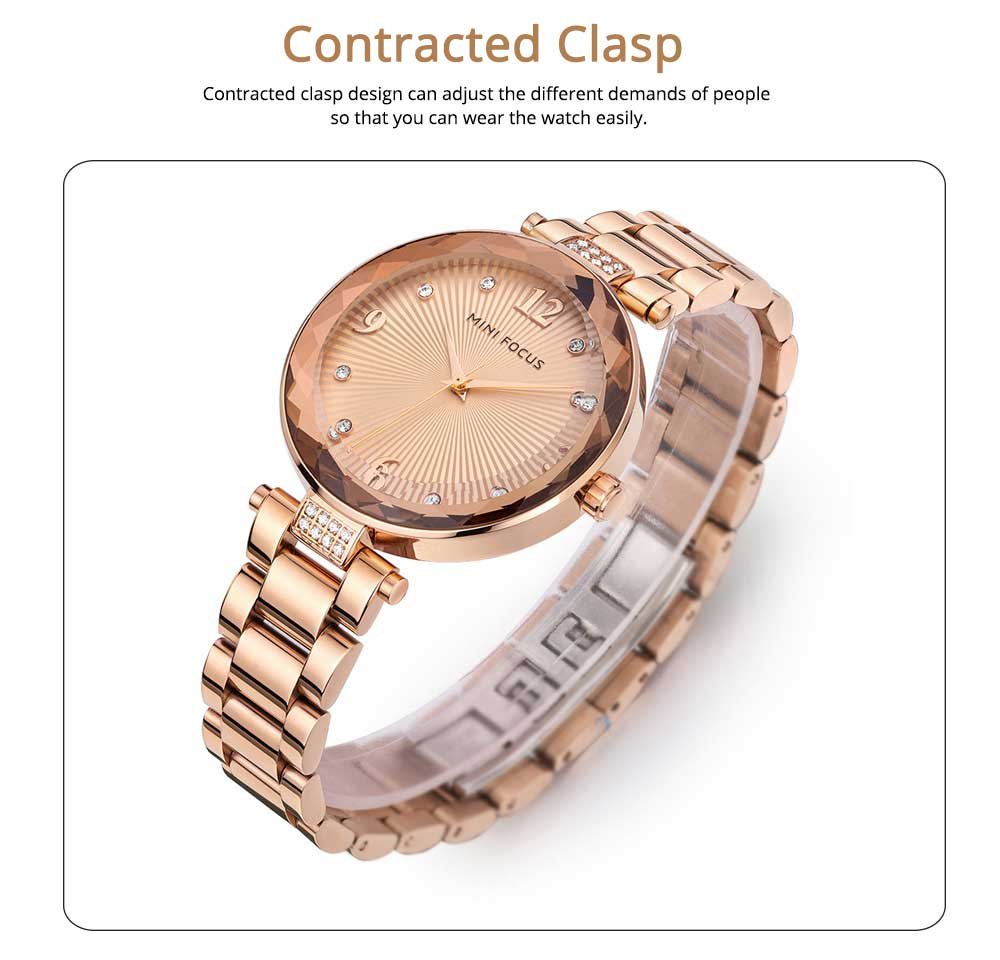Lady's Watch with Diamonds Imported Quartz Movement for Business, Wear-resistant Crystal Lens Delicate Watches 3