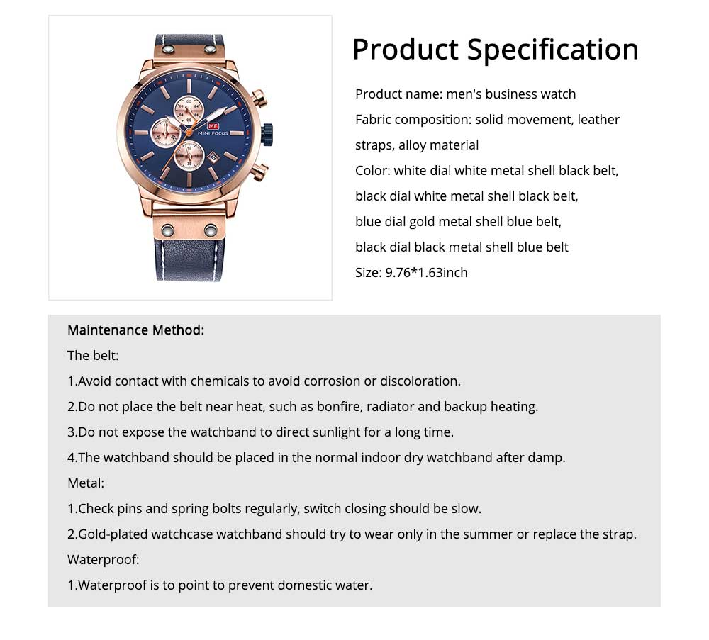 Men's Leather Strap Business Watch with Durable Solid Movement Luxury Wrist Watch 6