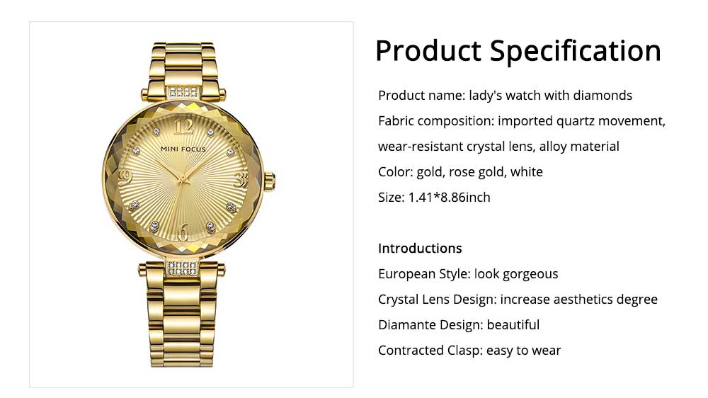 Lady's Watch with Diamonds Imported Quartz Movement for Business, Wear-resistant Crystal Lens Delicate Watches 6