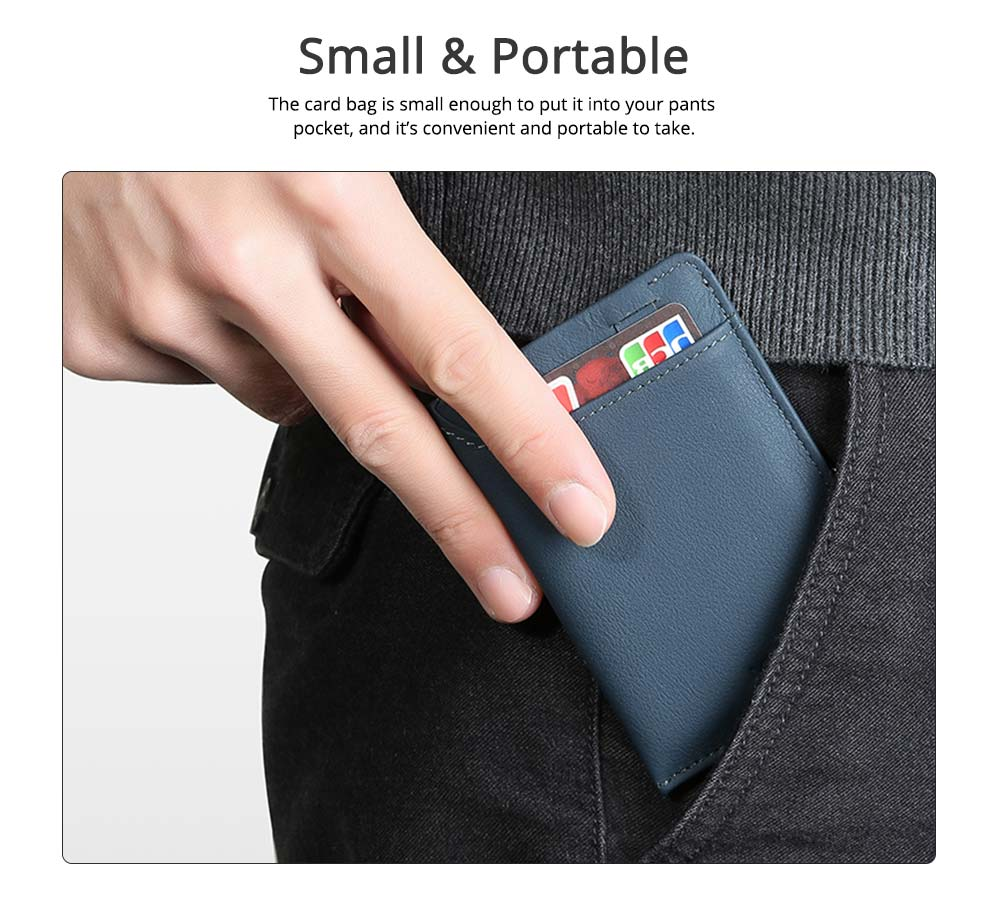 Mini Card Bag Cow Leather Textile Material Bag for Men Several Pockets Packs Portable Thin Card Holder 1