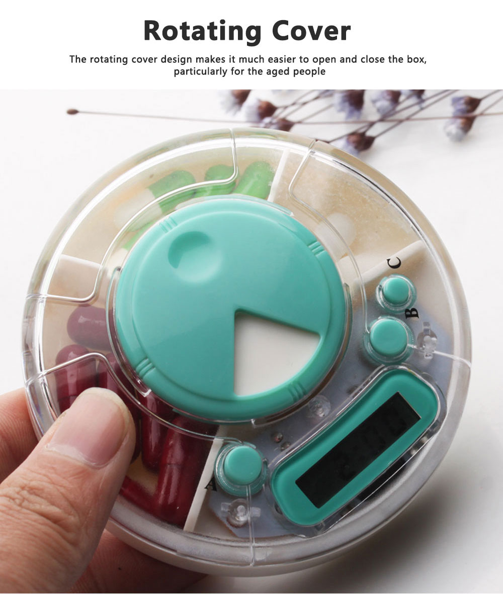 7-Day Electric Pill Box Medicine Organizer Container with Timer Alarm Clock Reminder for Patients 3