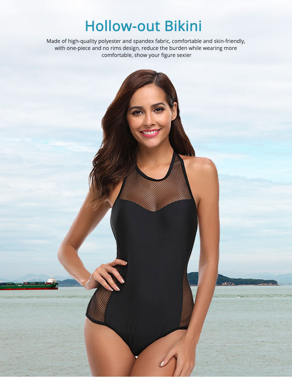Hollow-out Bikini with Comfortable and Skin-friendly Polyester and Spandex Fabric for Ladies, No Rims One-piece Swimsuit 0