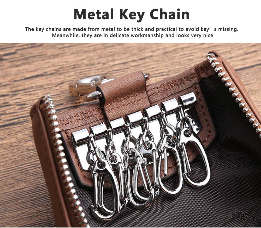 Leather Key Case for Men, Waist Hanged Zipper Key Case for Women, Multipurpose Key Case Wallet Mini Coin Purse 6