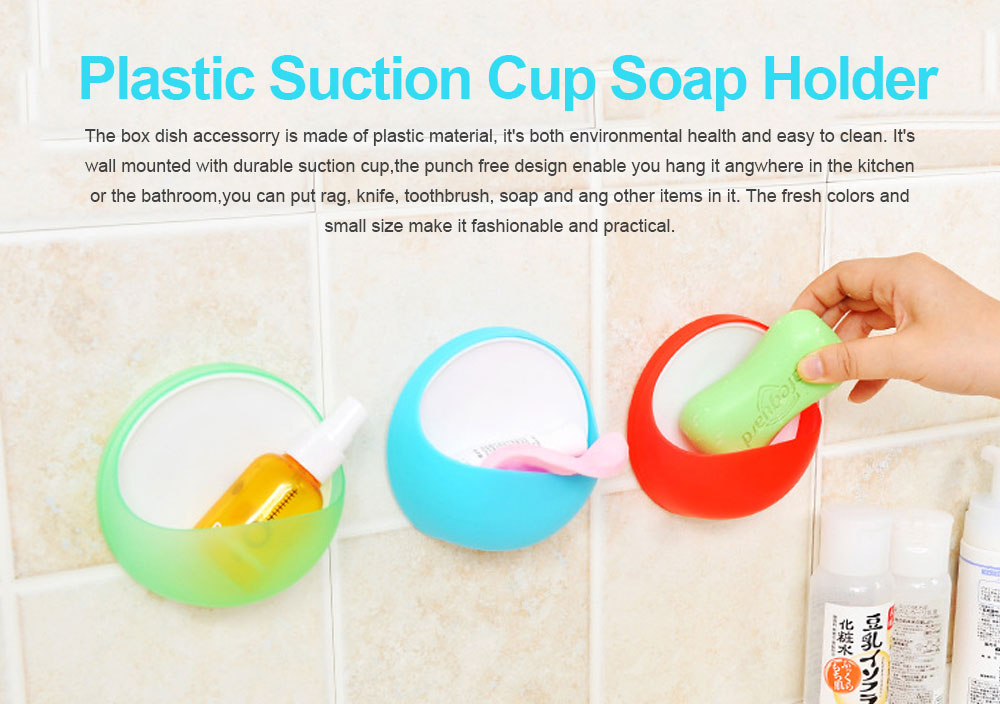 Plastic Suction Cup Soap Holder for Bathroom Toothbrush Box Dish Accessories, Punch Free Wall Mounted Soap Storage Case 0