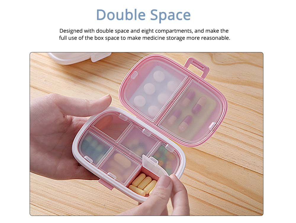 Mini Pill Storage Box with Eight Compartments, Double Space PP Container Portable Weekly Medicine Case 1