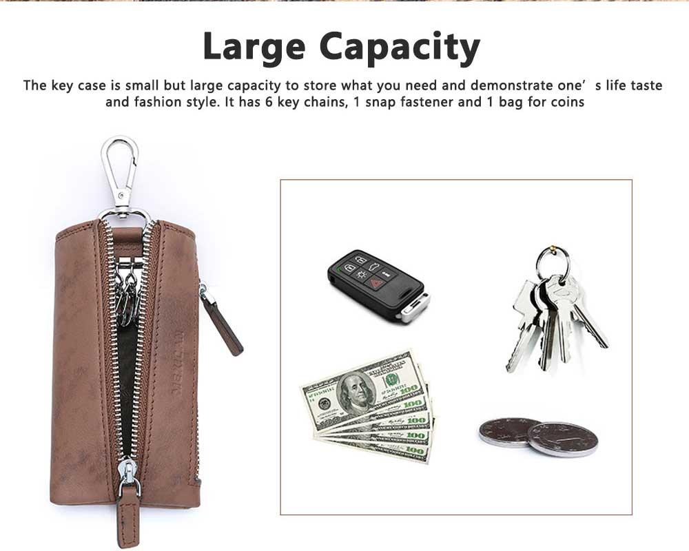 Leather Key Case for Men, Waist Hanged Zipper Key Case for Women, Multipurpose Key Case Wallet Mini Coin Purse 5