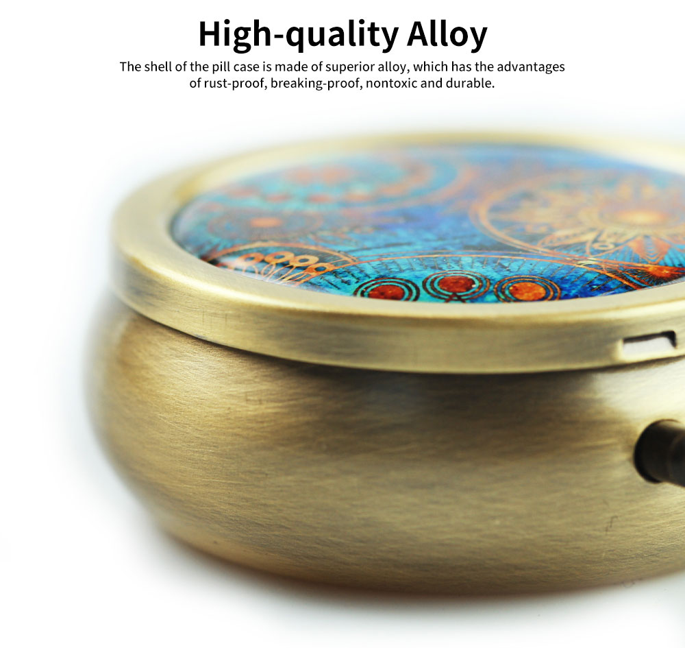 Creative Fancy Mini Portable Brassiness Alloy Pill Case, Elegant  Decorative Earrings Jewelry Storage Box with 3 Compartments 1