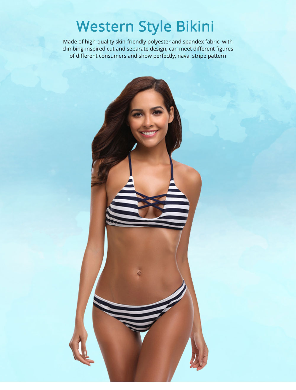 Naval Stripe Separate Sexy Lady's Swimsuit, Western Style Bikini with Polyester and Spandex Fabric 0