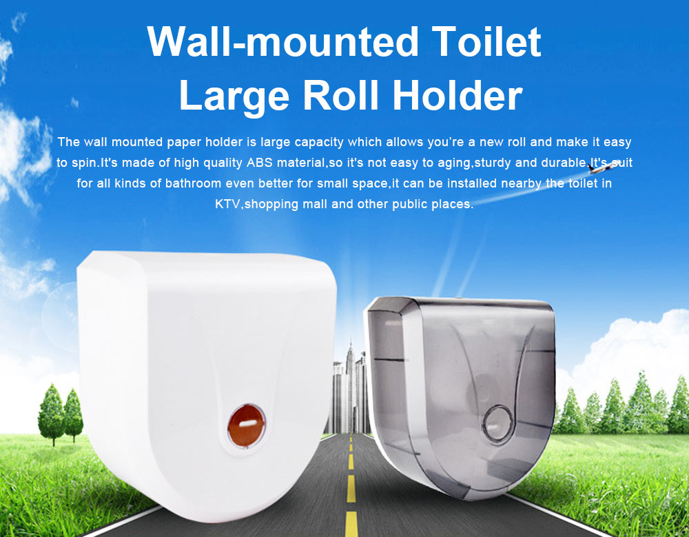 Wall Mounted Waterproof Toilet Paper Dispenser Holder for Hotel KTV Shopping Mall, Nontoxic ABS Plastic 0