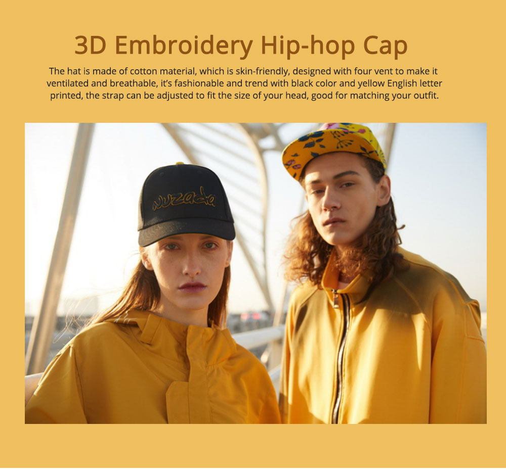 Hip-hop Cap with 3D Embroidery for Women Men, Sunny Day Essential Cap with Adjustable Strap 0