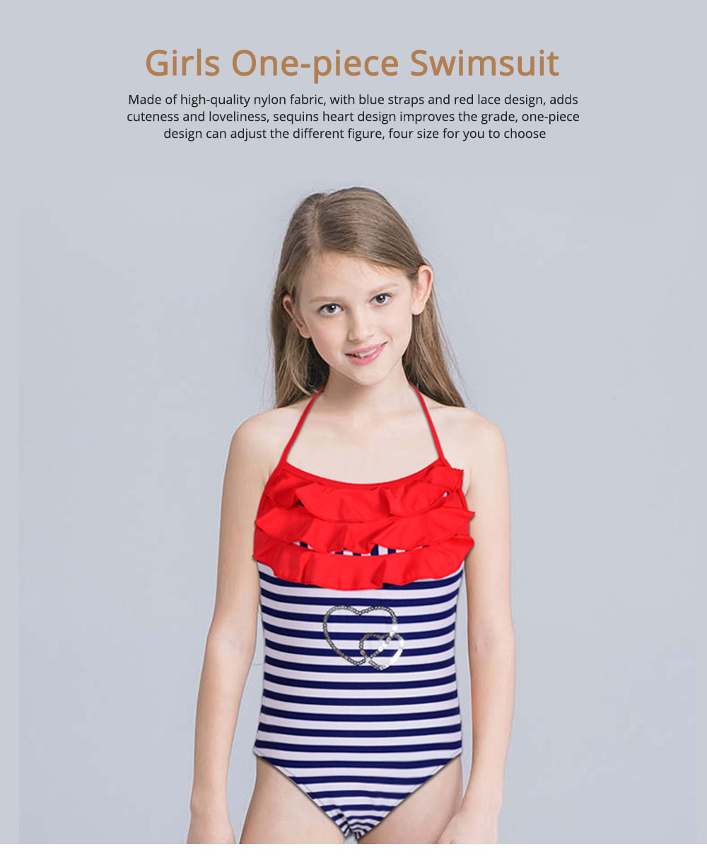 One-piece Swimsuit for Girls, High-quality Nylon Fabric Blue Straps and Red Lace Children's Swimsuit 0