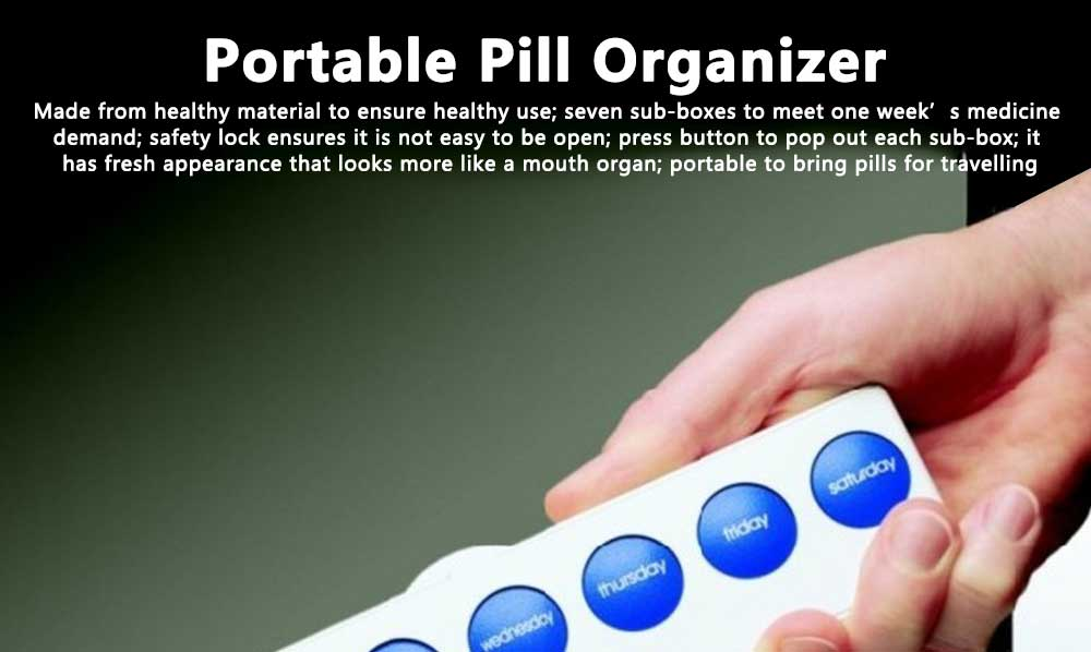 Portable Weekly Pill Box Dispenser with Press Button, Safe Lock 7 Day Medicine Organizer Container for Travelling 0