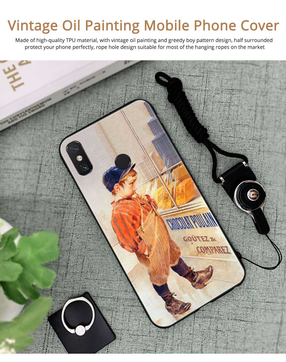 Vintage Oil Painting Mobile Phone Cover, Greedy Little Boy Printing  Phone Case for 6s, 6sp, 7p/8p, XS, XR 0