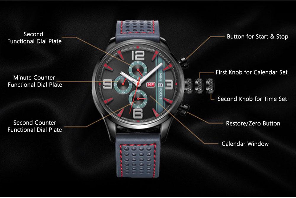 Mini Focus Men's Business Watch, MINI FOCUS Stylish Luminous Watches Leather Bracelet 7