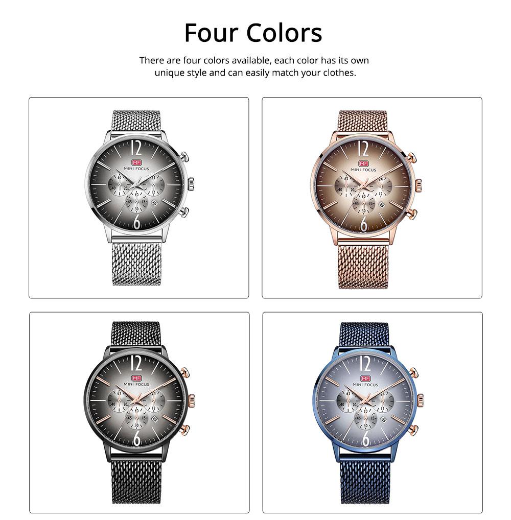 Wear-proof Stylish Watch, Skin-friendly Steel Strap Watch for Men, Water-proof Quartz Movement Round Alloy Dial Watch 1