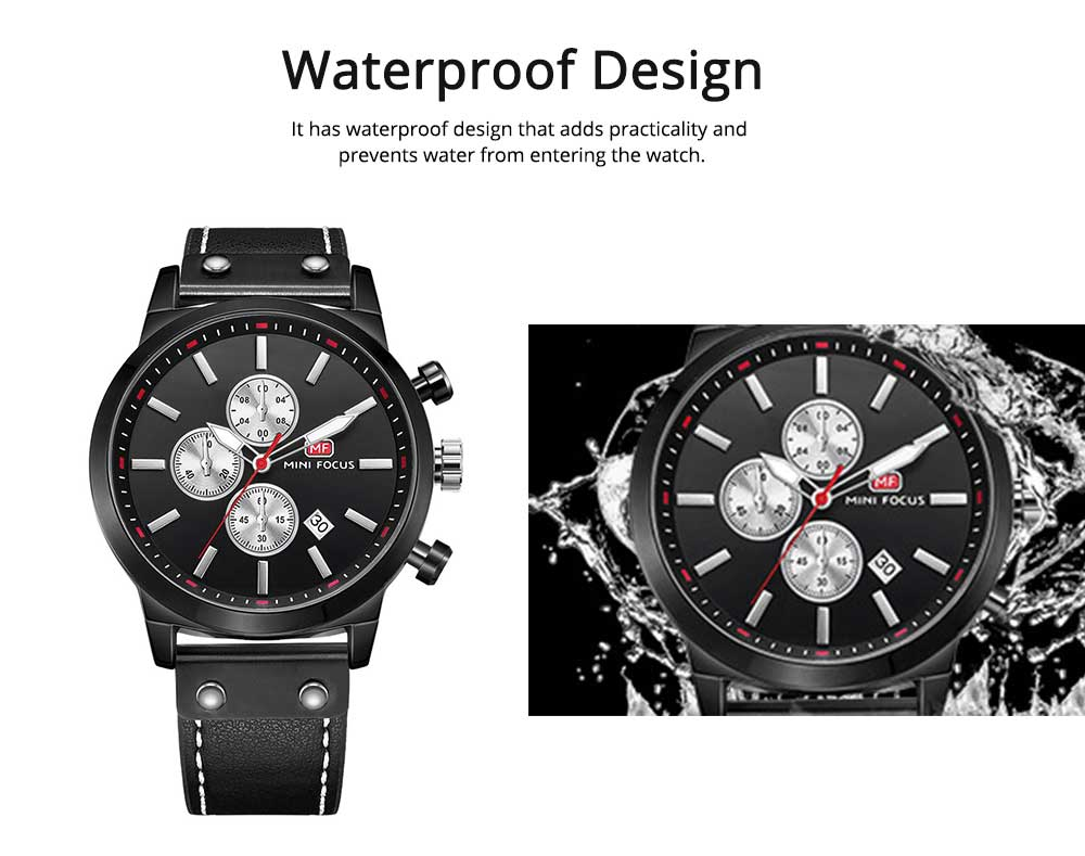 Men's Leather Strap Business Watch with Durable Solid Movement Luxury Wrist Watch 2