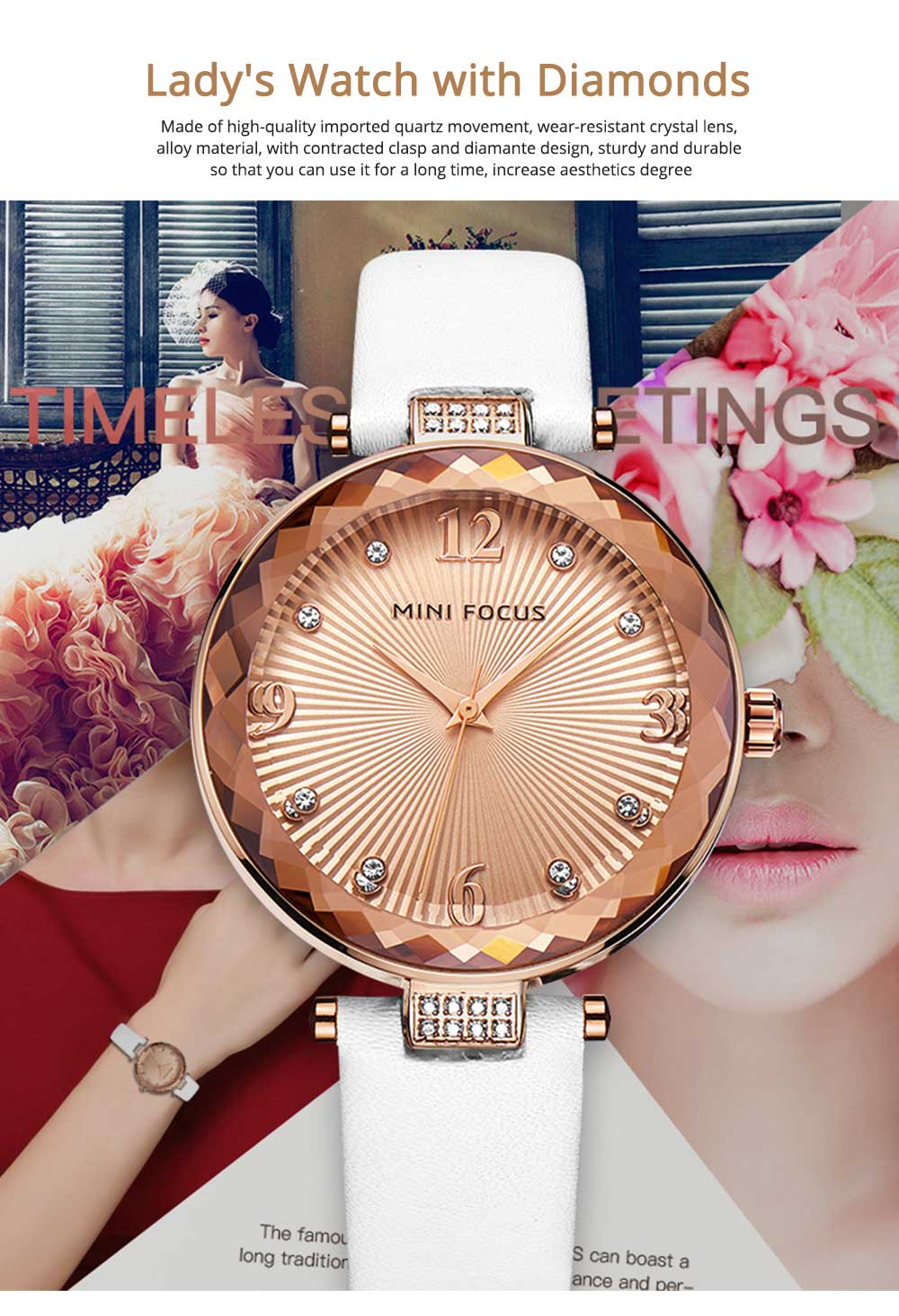 Lady's Watch with Diamonds Imported Quartz Movement for Business, Wear-resistant Crystal Lens Delicate Watches 0