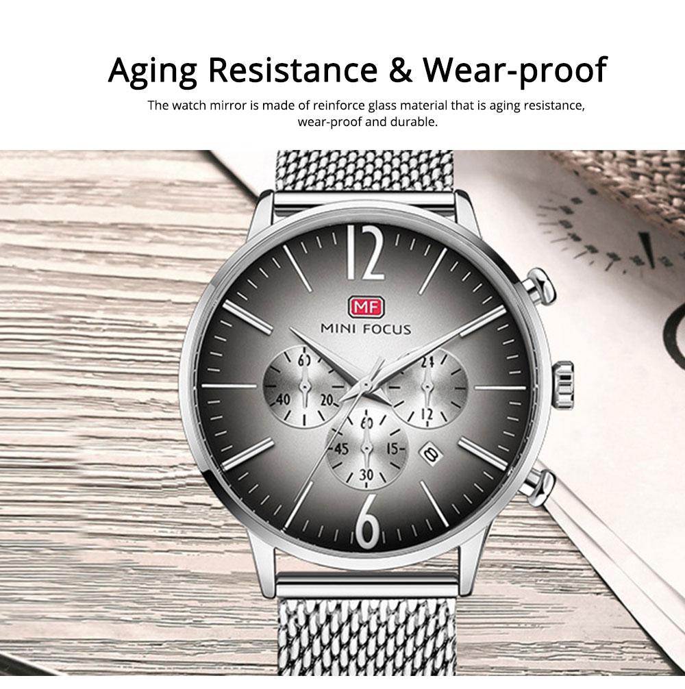 Wear-proof Stylish Watch, Skin-friendly Steel Strap Watch for Men, Water-proof Quartz Movement Round Alloy Dial Watch 5