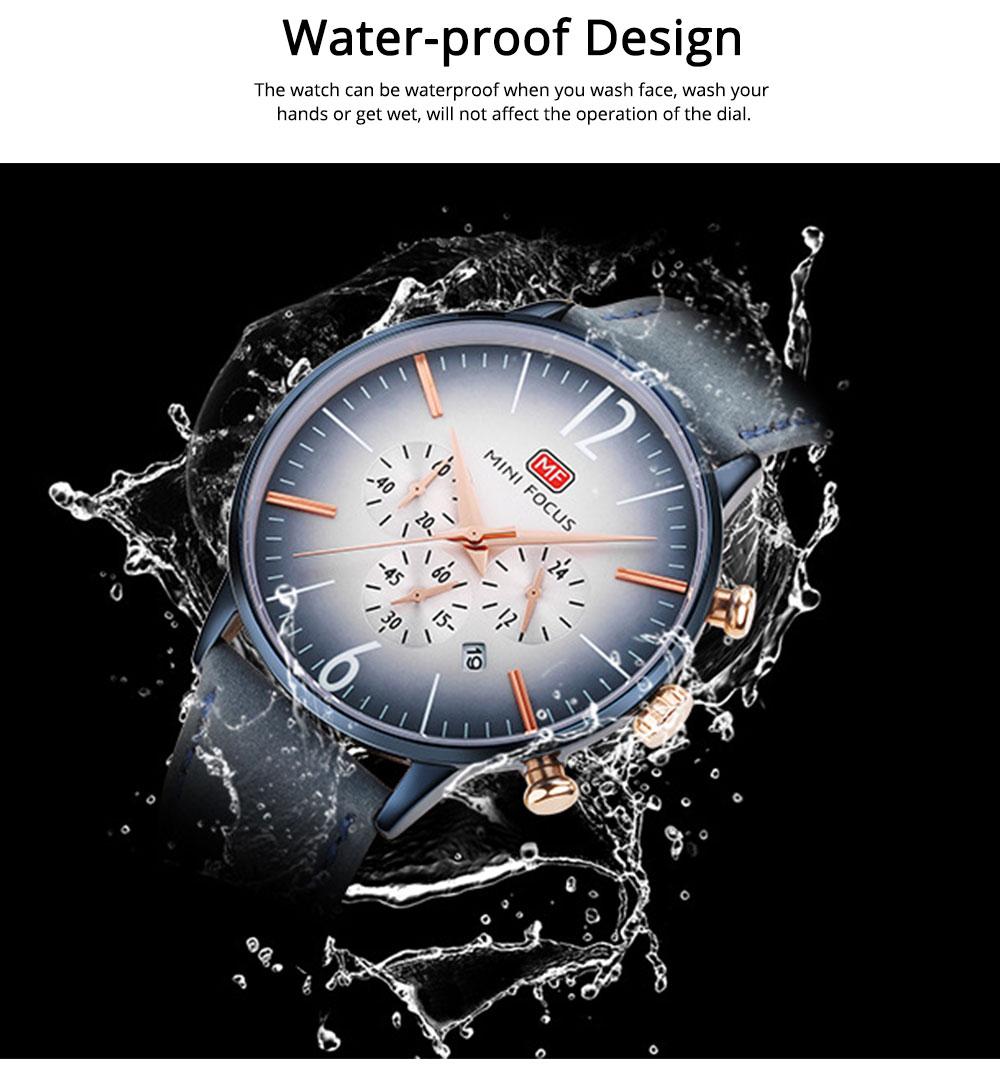 Fashionable Leather Strap Watch for Men Water-proof Round Dial Watch Minimalist Quartz Wrist Watch 2
