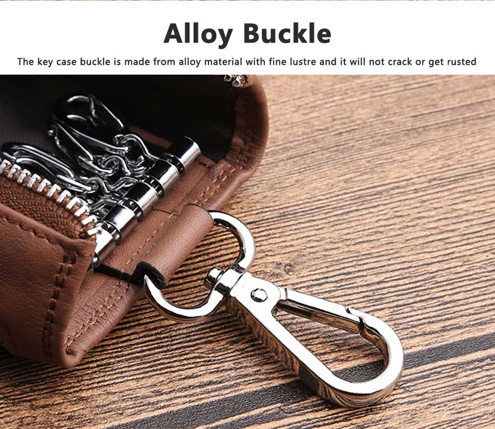 Leather Key Case for Men, Waist Hanged Zipper Key Case for Women, Multipurpose Key Case Wallet Mini Coin Purse 4